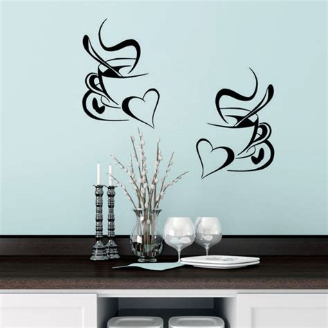 Kitchen Decor Vinyl by Kitchen Wall Sticker Coffee 2pcs Coffee Cup With