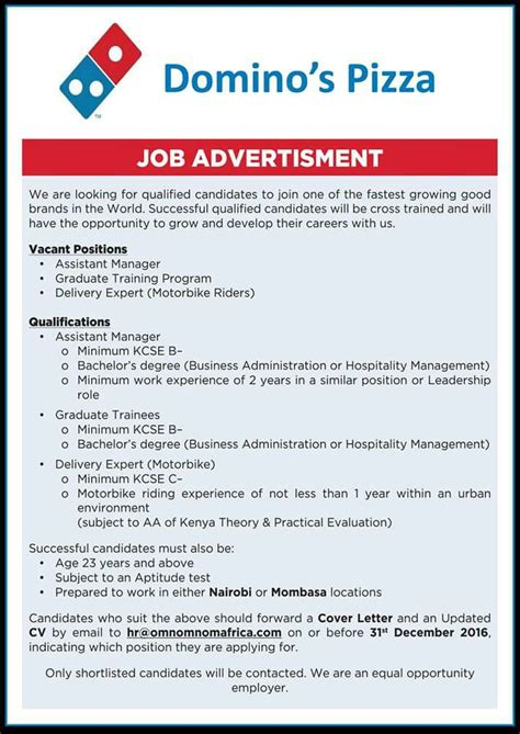 Domino S Resume Application by Domino Are Looking To Fill 3 Vacant Apply Now Youth Kenya