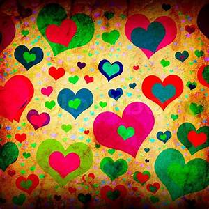 Grunge background with colorful hearts | Stock Photo ...
