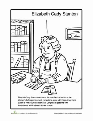 elizabeth cady stanton worksheet education 939 | elizabeth cady stanton coloring page