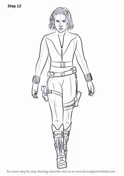 Widow Drawing Draw Natasha Romanoff Step Outline
