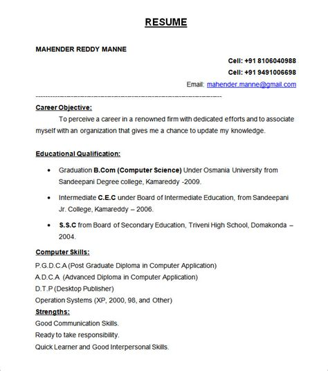 Internship Resume Format For Freshers by Best Resume Formats 40 Free Sles Exles Format