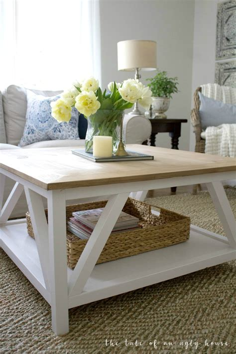 Fabulous diy farmhouse coffee tables for your living room. DIY Modern Farmhouse Coffee Table - Sincerely, Marie Designs