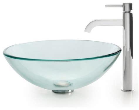 clear glass vessel sinks clear glass vessel sink ramus faucet chrome