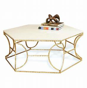 roja hollywood antique gold leaf cream marble hexagonal With cream and gold coffee table