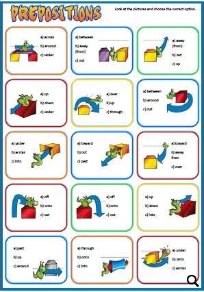 prepositions  place  movement worksheet