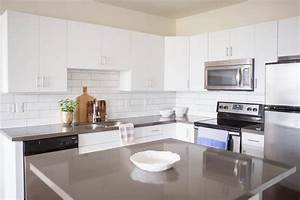 White Flat Front Cabinets with Grey Quartz Countertops ...