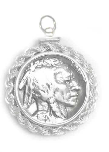 Us Nickel Rope Coin Charm 925 Sterling Silver