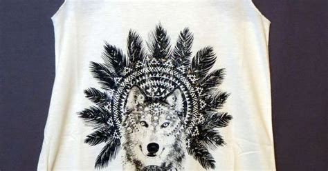 Cowgirl Gypsy Wolf Native Aztec Feathers Headdress Tank