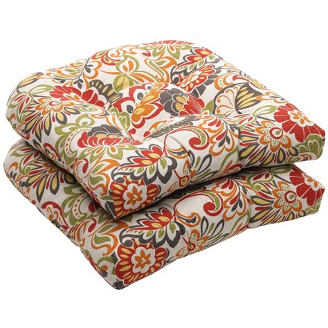 outdoor multicolored floral wicker seat cushions set of 2