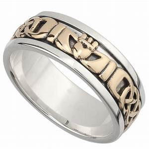 irish wedding band 10k gold and sterling silver mens With claddagh ring wedding bands