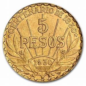 1930 Uruguay Gold 5 Pesos AU (AGW .2501) | Gold Coins from ...