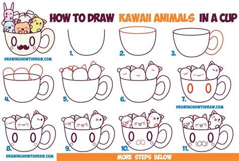draw cute kawaii animals  characters   coffee