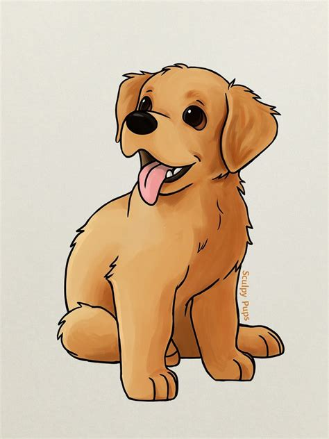 golden retriever puppy drawing  sculptedpups  deviantart