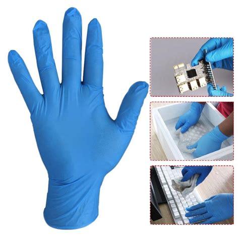 ถุงมือไนไตรสีฟ้า กล่องสีขาว ใส่ป้องกันเชื้อโรค ไม่มีแป้ง ...