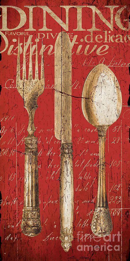 vintage dining utensils  red  grace pullen vintage