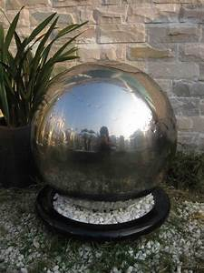 Solar Northern Lights Ankara Stainless Steel Sphere Water Feature With Led