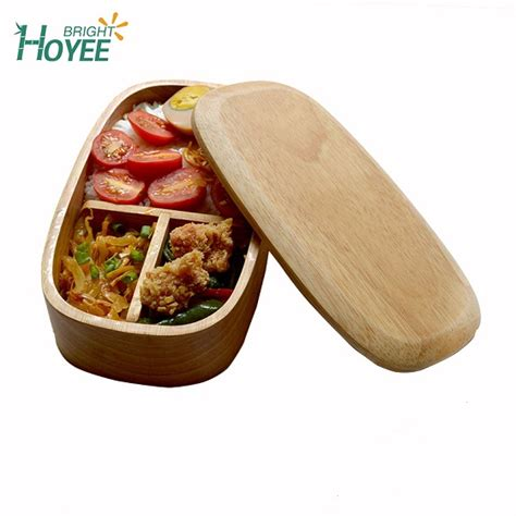 natural oak japanese style lunch box single layer elliptical environmental protection kitchen