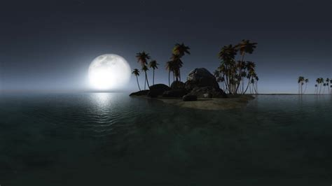 aerial vr  panorama  tropical island  night