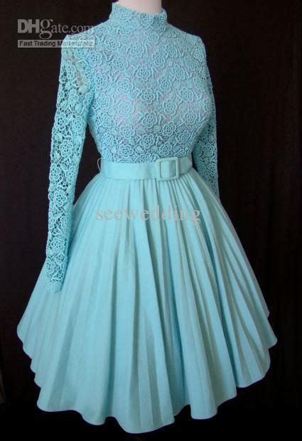 Hot Vintage 1960s A Line Long Sleeves High Prom Dresses