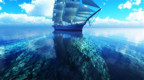 Download Wallpaper 1600x900 3d Sailboat Blue Sea Hd Background