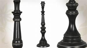 Lampe Sur Pied Bois : pied de lampe noir en bois tourn ~ Teatrodelosmanantiales.com Idées de Décoration