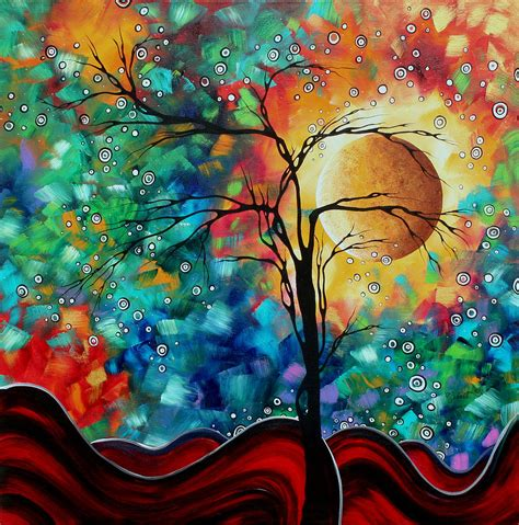 abstract original whimsical modern landscape painting bursting forth by madart painting by