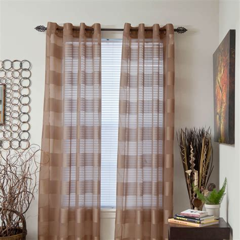 Brown Sheer Curtains Target by Lavish Home Sofia Grommet Curtain Panels 54 X 95 Coffee