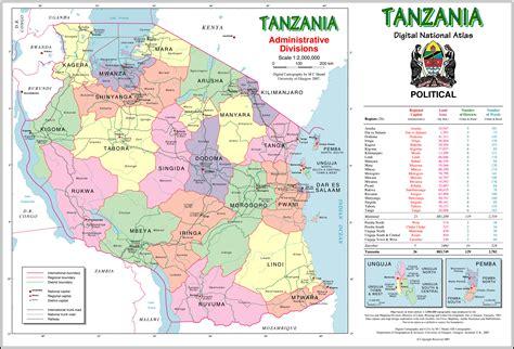 large detailed administrative map  tanzania tanzania