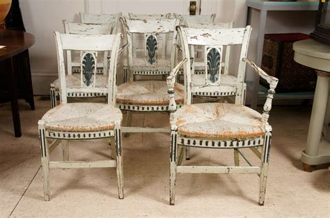 8 provincial green painted dining room chairs image 2