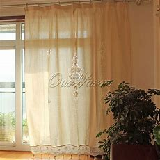 Tab Top French Country Cotton Linen Crochet Lace Curtains