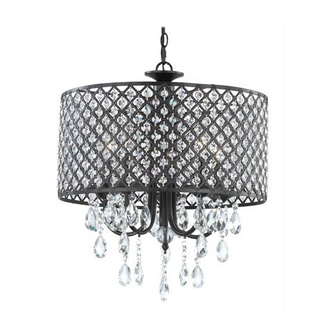 Black Drum Shade Chandelier With Crystals by Chandelier Pendant Light With Beaded Drum