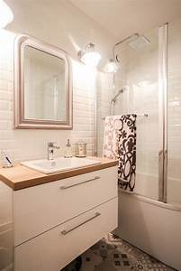 mix de carrelage style metro et carreaux de ciment dans la With carrelage salle de bain metro