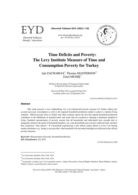 (PDF) Time Deficits and Poverty: The Levy Institute