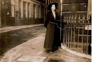 Suffragette Chained to Metal Railings | Alpha Rail