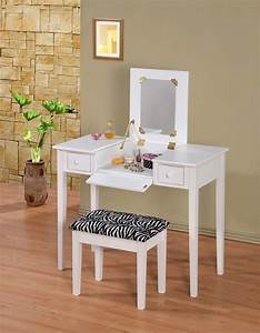 Wooden Makeup Vanity Table Set with Flip Mirror, Two Colors