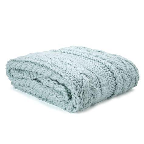 elsham chunky knit extra large blanket  duck egg blue