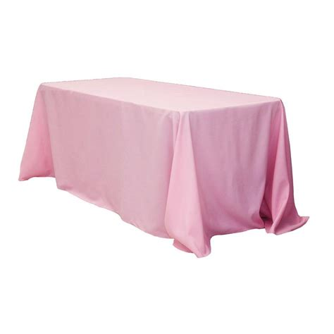 "90""x132"" Rectangular Oblong Polyester Tablecloth Pink"