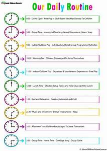 Daily room routine template aussie childcare network for Child care daily routine template