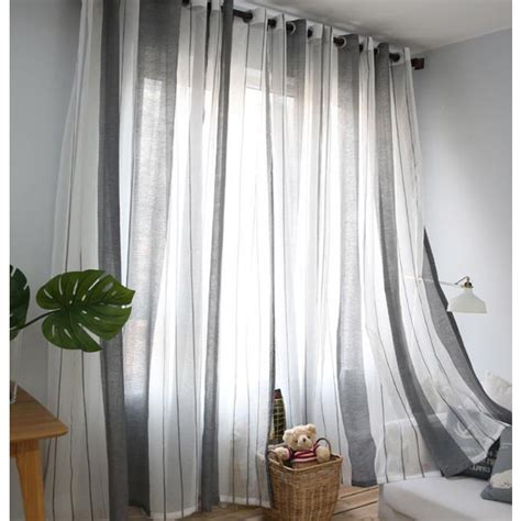 gray  white striped contemporary sheer curtains