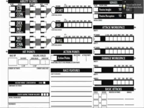 d d 4th edition character sheet tutorial 2 youtube