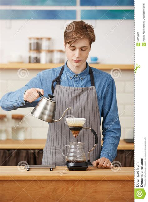 Making Pourover Coffee Nice Barista Preparing