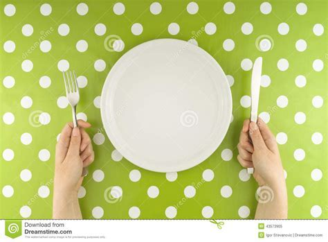 Hands At The Table With Empty Set Stock Image   Image