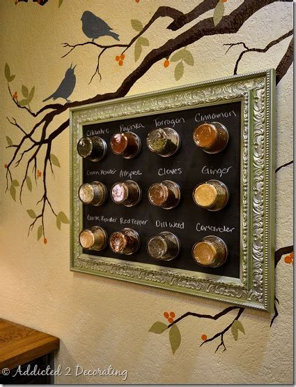 Make A Magnetic Spice Rack by Space Saving Framed Magnetic Chalkboard Spice Rack To Hang