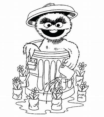 Sesame Coloring Street Pages Oscar Grouch Cartoon