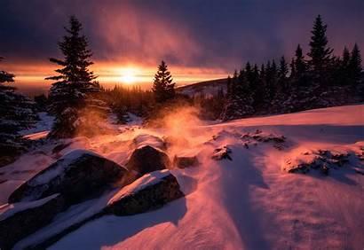 Sunset Snow Winter Wallpapers Desktop Nature Bulgaria