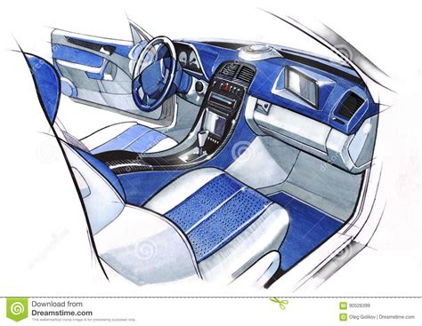 Design Sketching The Interior Of A Sports Car Coupe