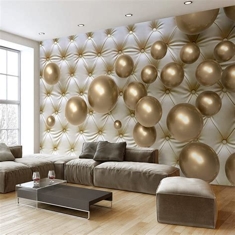 wallpaper modern art abstract mural golden ball soft