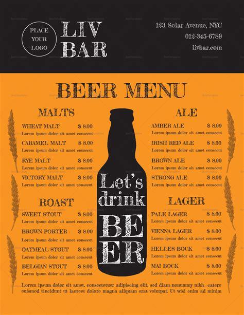 sample beer menu design template  psd word publisher