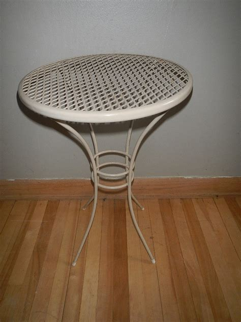 vintage small metal patio table side end by